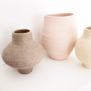 Ash Sand Vase, Sandy texture, 24Ø x H26cm. Working in the RedWoods Shop Online