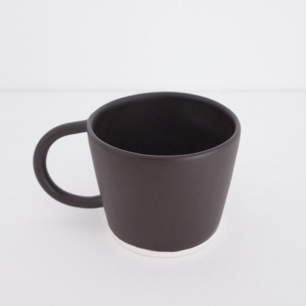 organic and minimalist handcrafted ceramic mug with handle, finished matte cocoa, 300 ml