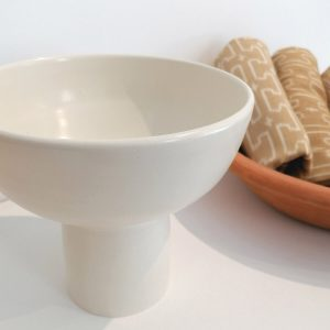Chalice Fruit Bowl, satin white. Organic Handcrafted Tableware