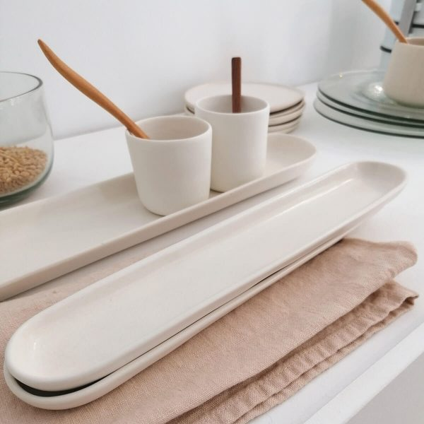 LONG TRAY M, satin white, 28x4,5cm. Organic Handcrafted Tableware