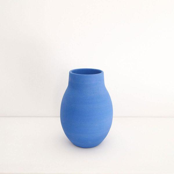 Mediterraneum O Vase, blue, 19Ø x H24cm, Workign in the Redwoods handmade ceramic