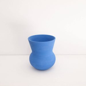 Mediterraneum V Vase, blue, 18Ø x H20cm | Working In The Redwoods