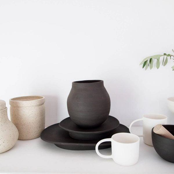 Pedestal black trays · Handmade Ceramic