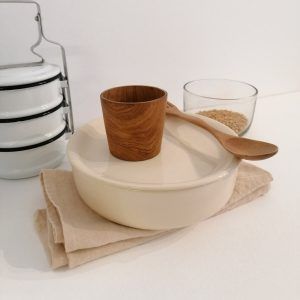 SINGLE SET, plate and bowl with shiny ivory finish · Handcrafted Ceramics