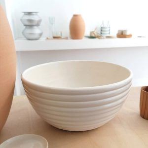 STRIPE BOWL, shiny ivory, 21 diameter. Redwoods Handmade Ceramic.