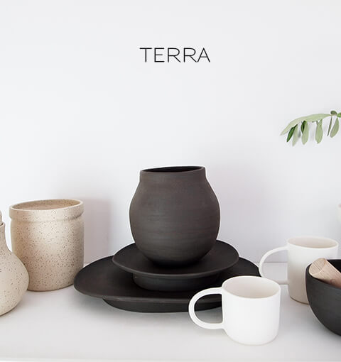 Terra Collection, Working in the Redwoods, handmade ceramic