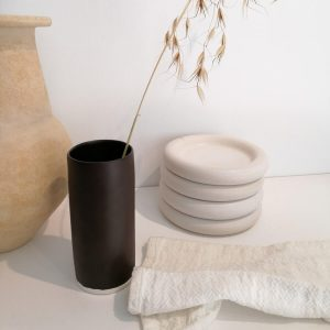 Tube Vase, matte cocoa. Organic handcrafted tableware.
