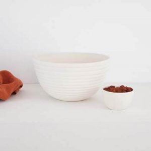STRIPE BOWL, shiny ivory, 21 diameter. Redwoods Handmade Ceramic.